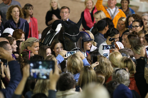 The spectators were able to come into the ring and bid farewell to the great Valegro.