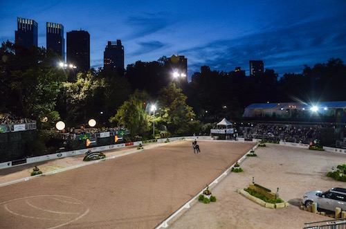 The dressage arena in Wollman Rink at the Rolex Central Park Horse Show.  Photo copyright Meg Banks.