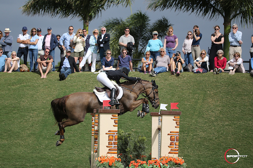 Katie Dinan and Dougie Douglas competing on the grass field at PBIEC.