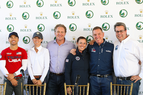 Photo Credit: (Left to Right) U.S. Olympic Show Jumping Team Silver Medalist Kent Farrington, three-time USHJA International Hunter Derby Finals winner Liza Boyd, Equestrian Sport Productions' CEO Mark Bellissimo, U.S. Olympic Dressage Team Bronze Medalist Kasey-Perry Glass, Allyn Mann, Director of Adequan®, and AGDF Director of Sport Thomas Baur.