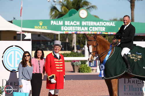 Todd Minikus and Zephyr in their winning presentation with Jasmine Velez and Kay Lawson with Douglas Elliman at the Polo Club, and ringmaster Steve Rector.