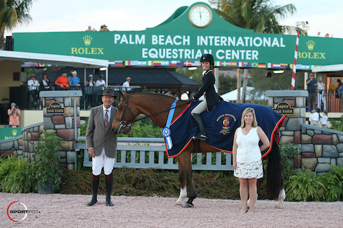 Reid Arani and Solo in their winning presentation with USHJA's Steve Rector and USHJA's Marla Holt.