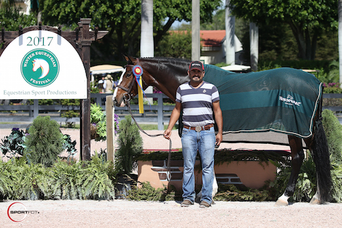 Summer Song in her championship presentation with groom Diego Gaytan.