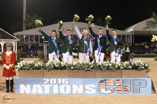 The winning Irish team of Conor Swail, Cian O'Connor, Chef d'Equip Robert Splaine, Richie Moloney, and Shane Sweetnam with ringmaster Christian Craig.