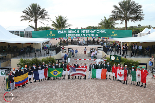 Riders representing seven countries showed in Friday night's $150,000 Nations' Cup CSIO 4*.