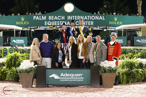Meredith Michaels-Beerbaum, Eric Lamaze, and Sergio Alvarez Moya in the top three presentation with Equestrian Sport Productions' Katherine and Mark Bellissimo, Marsha Dammerman, Luitpold Pharmaceuticals (makers of Adequan® i.m.) representatives Kathy Serio (Senior Territory Manager), Audrey Bolte (Brand Manager of the Animal Health Division), Roger Smith, Allyn Mann (Director of the Luitpold Animal Health Division), and ringmaster Steve Rector.
